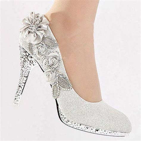 silver high heel shoes for wedding silver vogue lace flowers glitter high heels