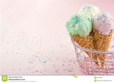 Shabby Chic Vase Ice Cream Cones In On Pink Background Royalty Free Stock