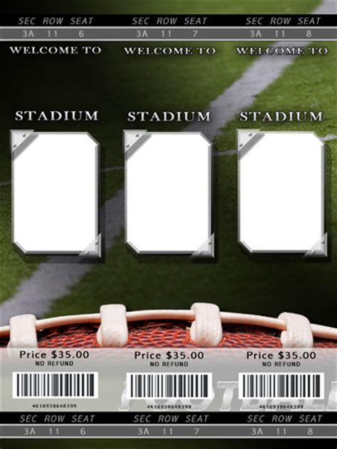 football ticket template football photo templates