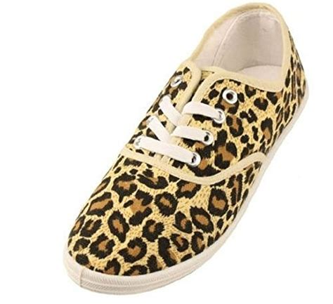 leopard print canvas sneakers womens leopard animal print canvas laced sneakers shoes 7