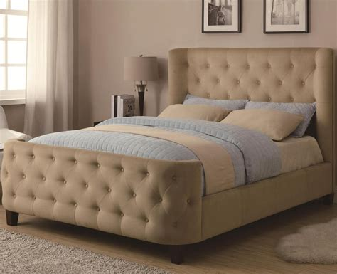 megan tan tufted bed