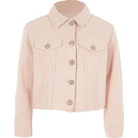 light pink jacket light pink frayed hem denim jacket jackets coats