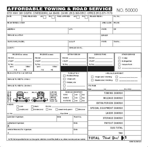 tow receipt template towing invoice template free invoice