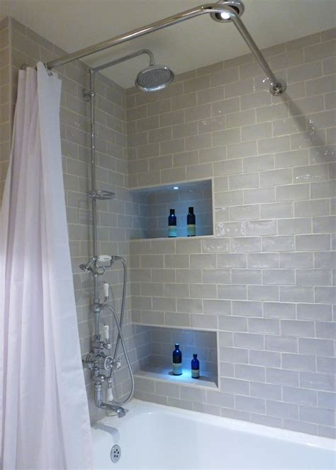 bathroom storage ideas recessed shower caddy tile and
