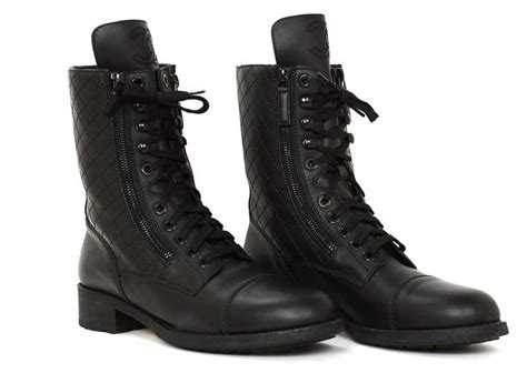 chanel combat boots chanel black leather combat boots w stitched cc and