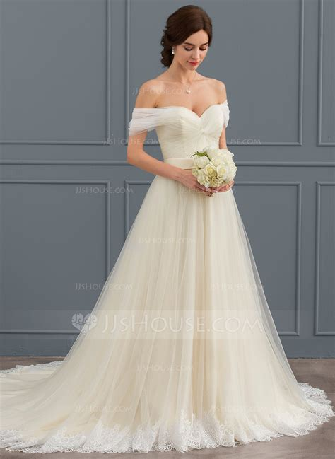 brautkleid halblang gown the shoulder court tulle lace wedding