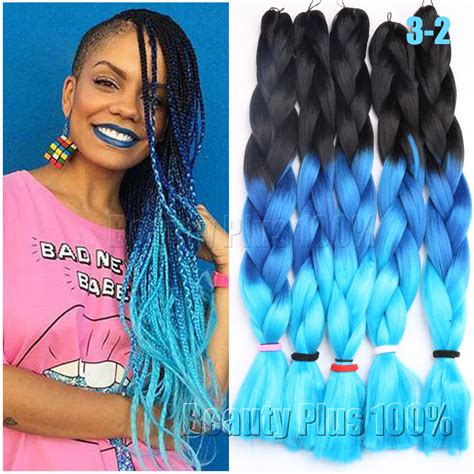 kanekolan hair black white grey 3 tone ombre colors braiding hair 24 quot purple pink blue