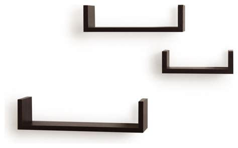 floating u laminated veneer shelves set of 3