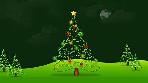 beautiful green merry christmas tree hd wallpaper
