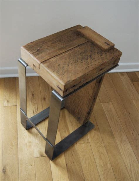 Handmade Furniture Ideas - reclaimed wood bar stool industrial bar stool handmade