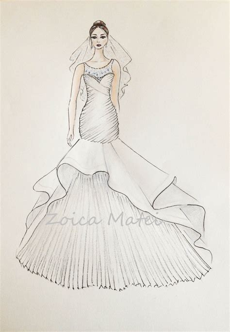 braut zeichnung custom wedding dress sketch bride with veil illustration