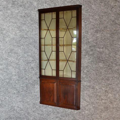 antique 8 corner display cabinet astragal glazed