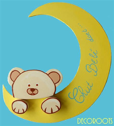 plaque de porte chambre enfant plaque de porte b 233 b 233 ours et la lune d 233 coration chambre