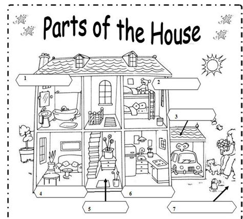 parts house printable exercises parts of the house
