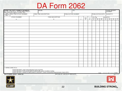 printable 2062 hand receipt know your role a hand receipt holder s guide to property