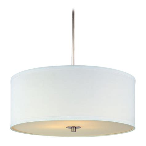 Drum Light Pendant Modern Drum Pendant Light With White Shade In Satin Nickel Finish Ebay