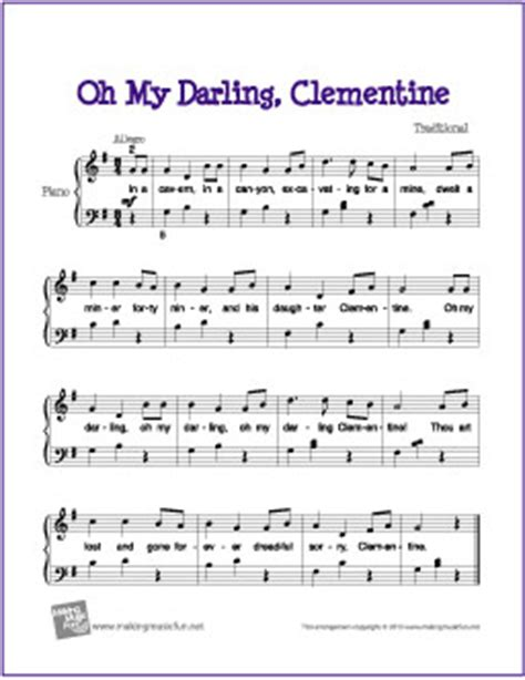 clementine lyrics oh my clementine free easy piano sheet