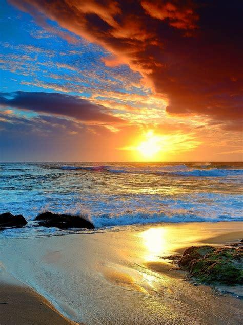 red cloud sunset ocean beach ipad wallpaper
