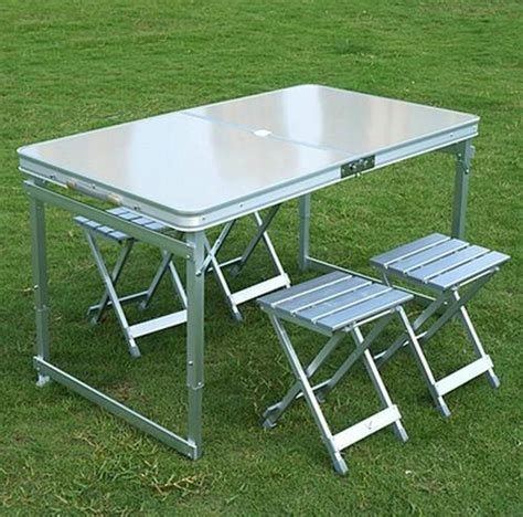 Folding Outdoor Table And Chairs Aliexpress Buy Aluminum Outdoor Table Sets 1 Table 4 Chairs Folding Table And Chairs