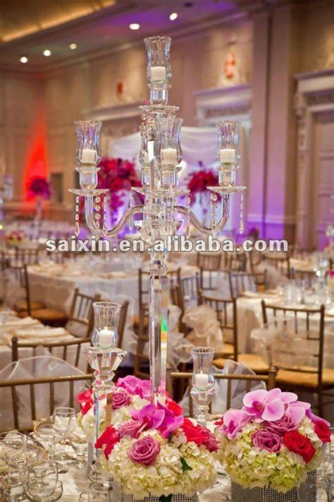 Hurricane Vase With Candle Beautiful Crystal Candelabra For Wedding Centerpiece View