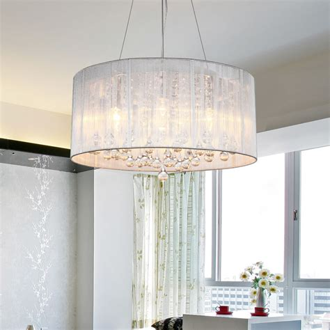 Drum Shade Crystal Ceiling Chandelier Pendant Light