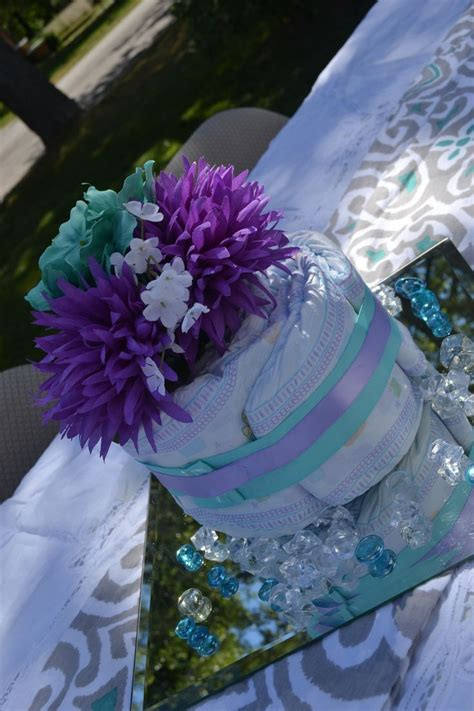 Purple And Teal Baby Shower Decorations by Purple Teal Baby Shower Centerpiece Baby Shower