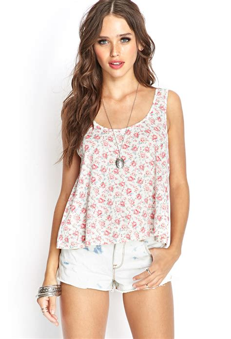 Tangtop Wanita Forever 21 forever 21 floral tank top in lyst