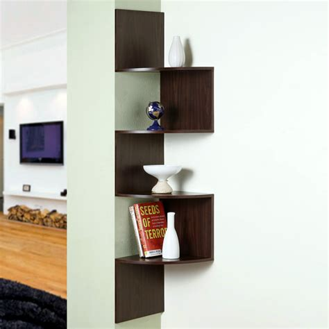 hanging corner display unit 4 shelves chocolate brown
