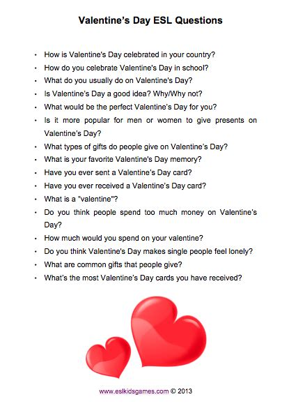 valentines day questions 3 esl s day activities esl esl