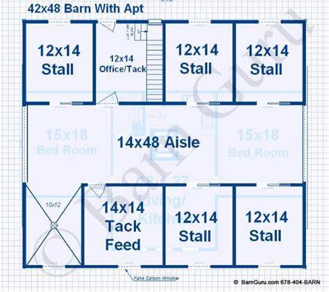 Barn Plans 5 Stall Horse 2 Bedroom Living Quarters
