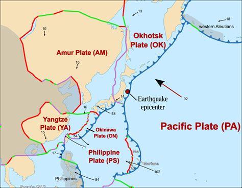 plate boundaries map political and tectonic maps japan earthquake medc