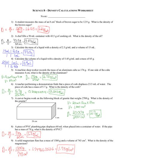 Chemistry Worksheet Answers by Worksheets Density Calculations Worksheet Atidentity