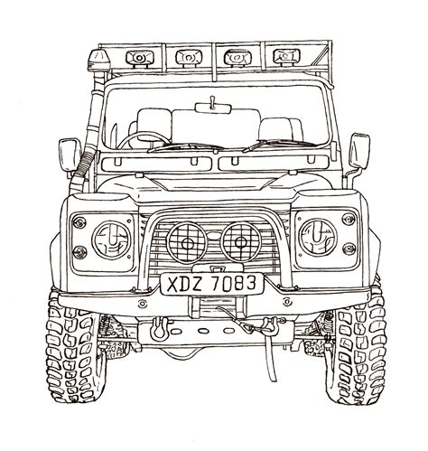 land rover drawing land rover defender 90 ink drawing land rover