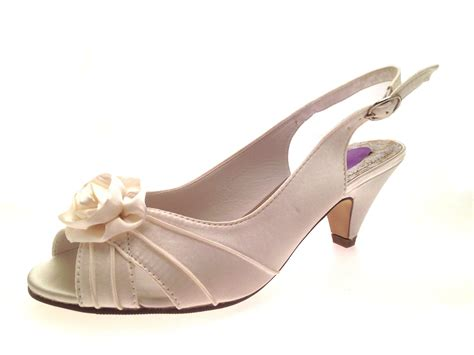 womens low heel satin wider bridal wedding comfort shoes