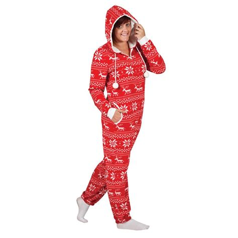 ladies christmas fleecy all in one piece onesie jumpsuit