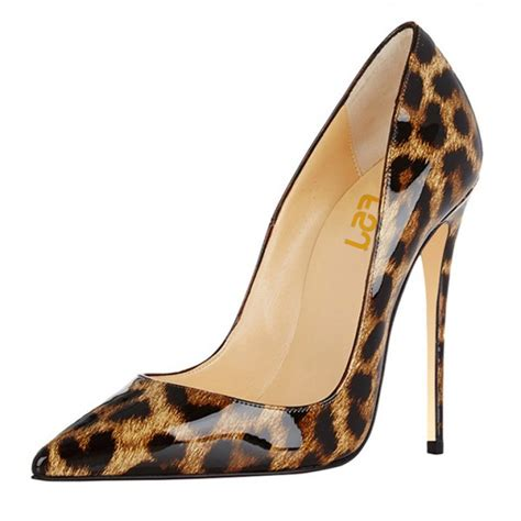 Stiletto Sandals Club Pumps leopard print heels patent leather 5 inches stiletto heel