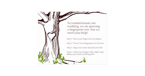 fingerprint tree card template wedding fingerprint tree card zazzle