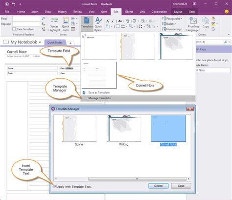 onenote cornell notes template how to use gem s cornell note template with fields in onenote office onenote gem add ins