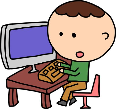 free to use clipart free boy on computer clip