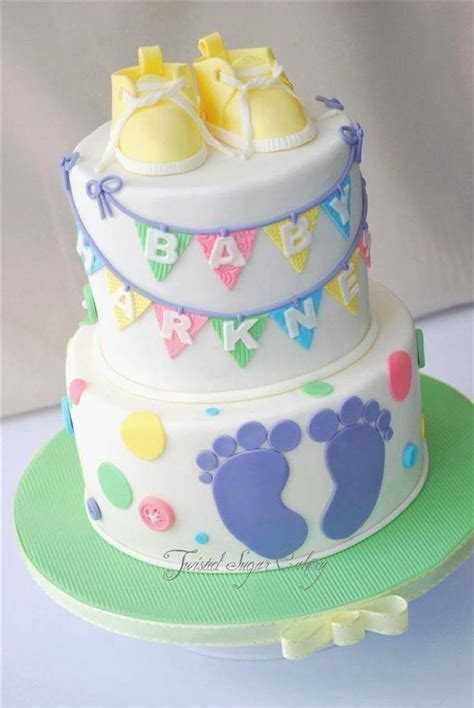 precious shoes top these baby shower cakes