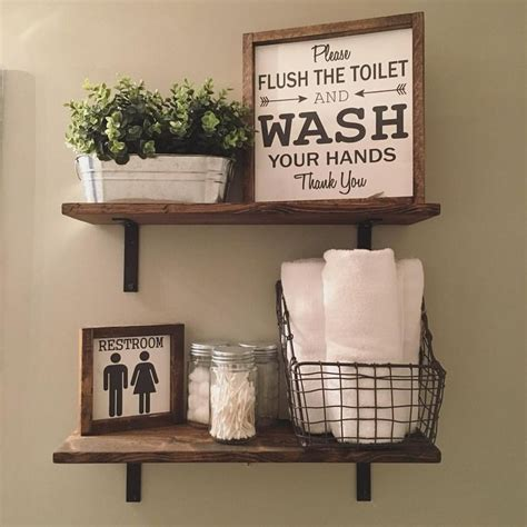 decorate bathroom shelves open shelves farmhouse decor fixer style wood