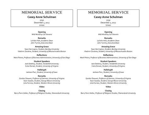 memorial service program template services gorgeous celebration life