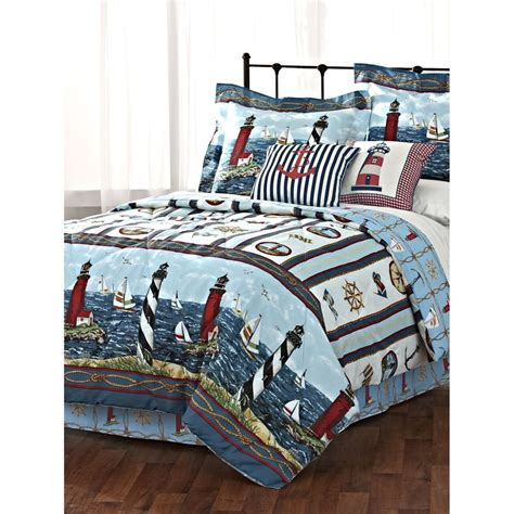 lighthouse sailboat nautical twin comforter set 3 piece