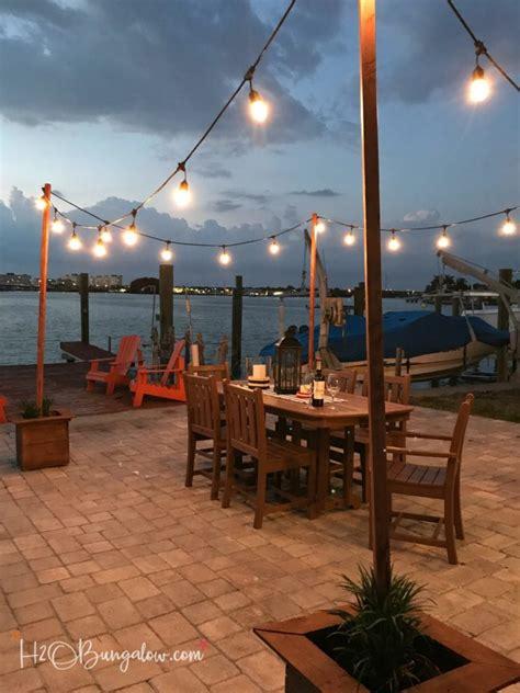 diy outdoor string lights diy outdoor string lights on poles h20bungalow