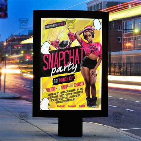 Snapchat Party Club A5 Flyer Template Exclsiveflyer Free And Premium Psd Templates Snapchat Ad Template