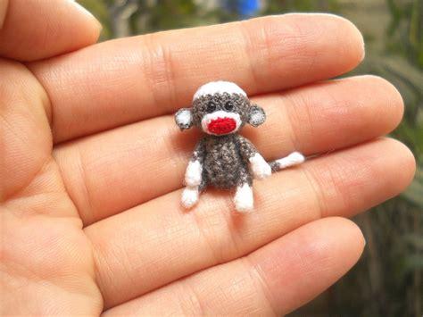 tiny sock monkey 1 inch micro amigurumi crochet miniature
