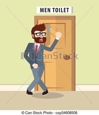 when to go to the bathroom business man want to go bathroom vector clipart search