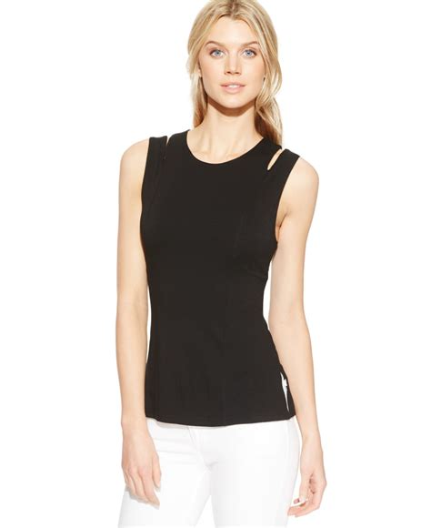 Cutout Sleeveless Top vince camuto sleeveless cutout knit top in black lyst