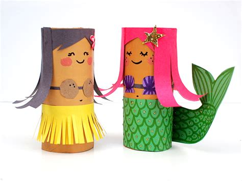 craft with tissue paper roll mollymoocrafts toilet roll crafts hula and mermaid