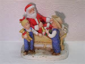 Home Interior Denim Days Figurines Vintage Denim Days Santa No 8924 Figurine Homco By Ozarksfinds
